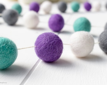 Wool Felt Ball Garland. Purple Aqua Pom Pom Garland. Kids Room Decor. Nursery Bunting. Birthday Party Garland. Nursery Decor. Mermaid Party