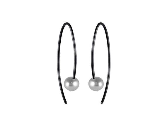 Small Stem Pearl Black Titanium Earrings, 100% Hypoallergenic, Sensitive ear