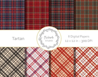 Plaid digital paper -  Plaid clipart - Tartan Clip art - Tartan digital paper - Scrapbook paper - Winter Digital Paper pack - Commercial use