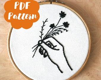 Bring me flowers - PDF pattern embroidery - modern hand digital download