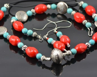 Sale: Jewellery set, Coral,Glass, Sterling Silver - GW1004