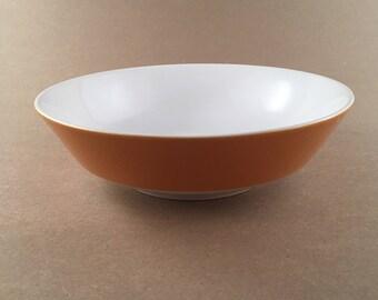 "Retro Mikasa Mediterrania Anita 8 1/2"" Serving Bowl 4092 - Japan - 1970's - Orange - White"