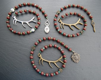 Herne/Cernunnos or Elen of the Ways/Flidais/Cailleach Pagan Prayer Beads. Stag/Deer/Reindeer Antler Goddess Shaman Totem Druid Druidry Witch