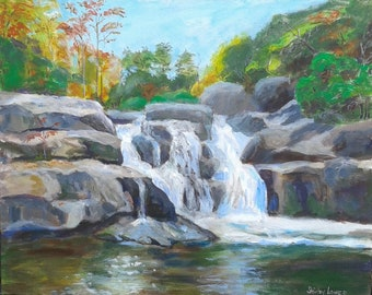 Waterfall scene, Jacks River Falls, Georgia mountain scene, original painting 16x20, Shirley Lowe, Cohutta Wilderness waterfall art,