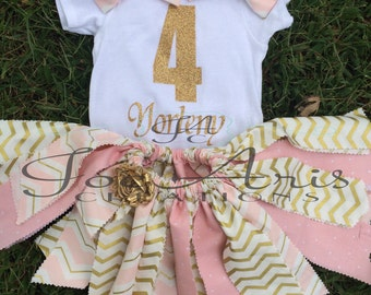 Light Pink and Gild Shabby fabric tutu outfit.