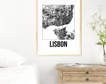 Lisbon City Map Print - Black and White Minimalist City Map - Lisbon Map - Lisbon Art Print - Many Sizes/Colours Available