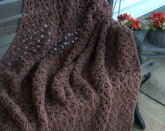 Hand Crocheted Decorative Afghan Blanket Throw in Cafe Latte Color Shellls