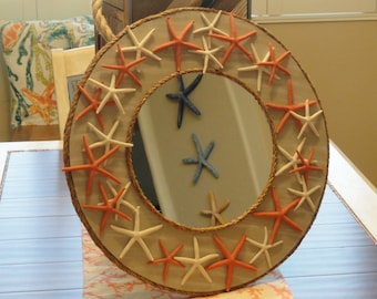 Coastal decor, beach decor, coastal bedroom, starfish mirror, coral decor, coastal cottage, beach house decor, coastal bathroom, wall mirror
