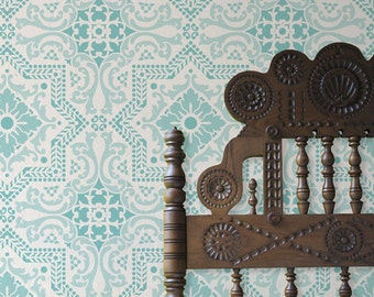 Large Tile Pattern Stencil for Decorative Painting and Interior Design Projects - Faux Tiled Wall or Floor Tiles