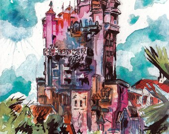 The Hollywood Tower Hotel Art - Original Watercolor and Ink Painting of the Twilight Zone Tower of Terror by Jen Tracy