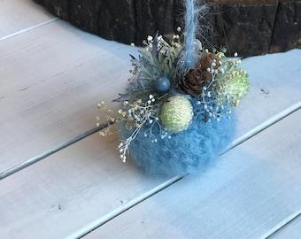 Blue Christmas Ornament,Mohair Christmas Ornament, First Baby Boy Christmas Ornament