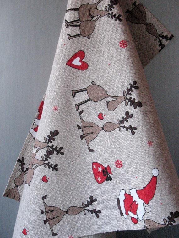 Schwedische Weihnachten Küche Handtuch-Set von 2 Leinen