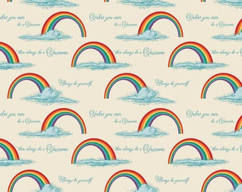 Unicorns and Rainbows Rainbows on Cream  Cotton Fabric Riley Blake C3712-Crm