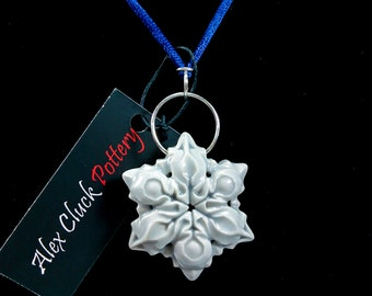 Hollow, Carved, Double-Sided, Porcelain Snowflake Pendant
