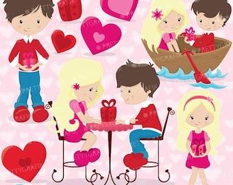 80% OFF SALE Valentine kids clipart commercial use, valentine vector graphics, digital clip art, digital images - CL633