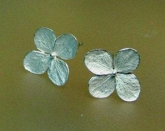 Hydrangea Flower Earrings, Floral Earrings, Botanical Stud Earrings, Post Earring, Sterling Flowers, Delicate, Made to Order