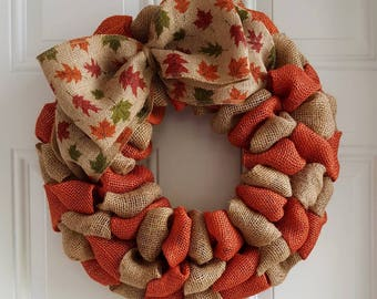 Fall wreath burlap wreath autumn wreath harvest wreath thanksgiving wreath primitive wreath Halloween wreath leaves wreath rustic wreath