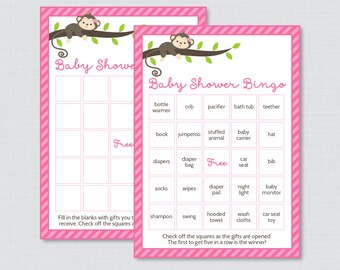 Monkey Baby Shower Bingo Cards - Prefilled Bingo Cards AND Blank Cards - Digital Instant Download - Pink Monkey Baby Shower Game - 0009-P