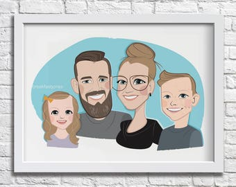FAMILY/GROUP CARICATURE custom drawing of four portrait funny style illustration digital avatar from photo caricature art humour family gift