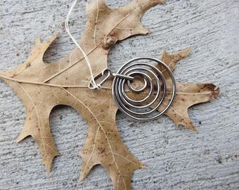 Handmade stamped bail Sterling Orbit pendant   Handmade Sterling Pendant