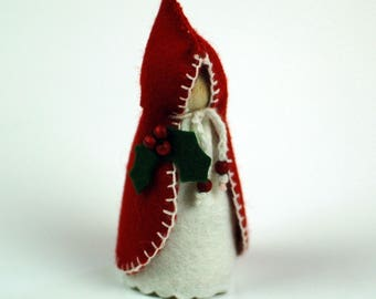 Waldorf Inspired Christmas Carol Singer Peg Doll - Female