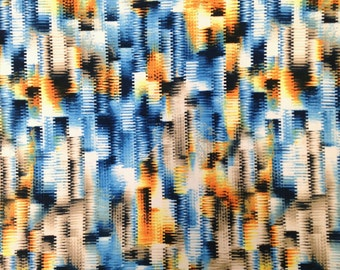 Blurry Cityscape Abstract Pattern on Stretch Lightweight Knit Jersey Polyester Spandex Fabric - 58 to 60 Inches Wide - By the Yard or Bulk