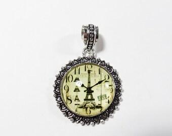 Eiffel Tower Clock Glass Pendant, Sterling Silver Pendant, 48x34mm, Hippie Paris Necklace, Bohemian Boho Jewelry, Boho Sterling Pendant