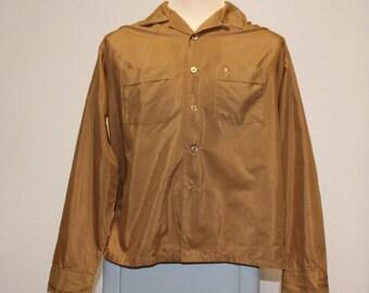 Vintage 1950s brown long sleeve permanent press shark skin shirt XL 373