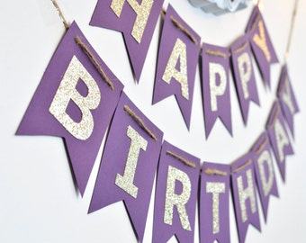 Purple and Gold Birthday Banner, Birthday Party Decor, Photo Prop
