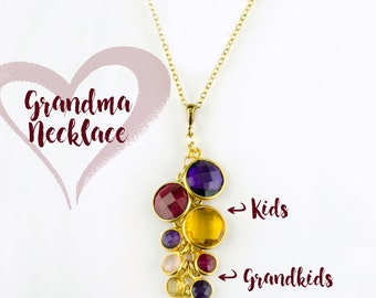Custom Birthstone Necklace for Grandma, Mothers day Gift for Grandmother with grandkids birthstones custom mothers jewelry mom birthday gift