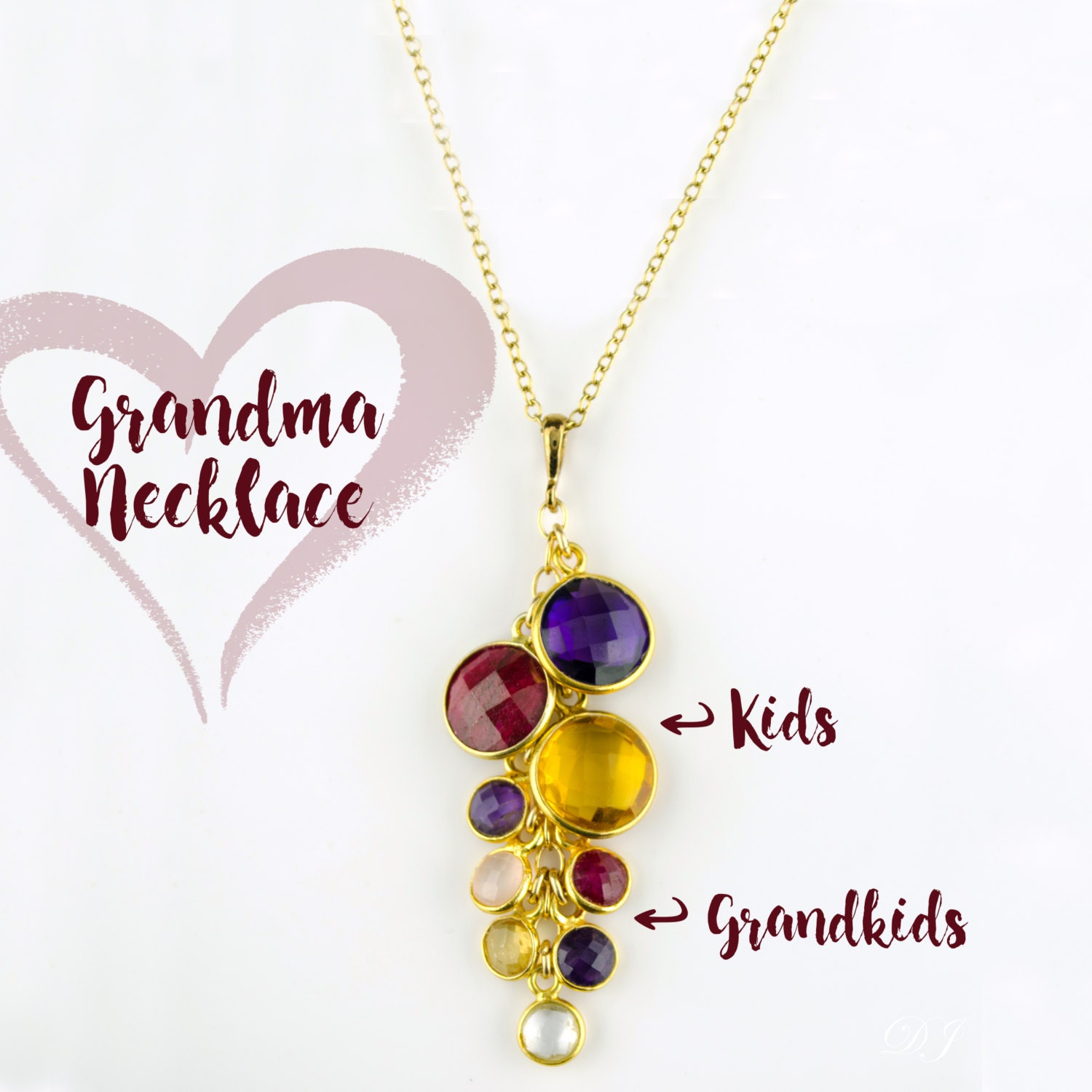 love with grandma names personalized necklace pin gift and grandmother beautiful birthstone a stylish is would birthstones any grandkids grandkid