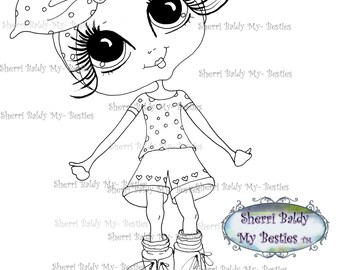 INSTANT DOWNLOAD Digital Digi Stamps Big Eye Big Head Dolls Digi The Gloves Are Off  Img871 By Sherri Baldy