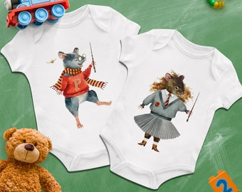 Harry Potter Hermione Granger mouse twin baby bodysuits, Funny baby twins clothing, Best twins first birthday gift, Present for baby twins