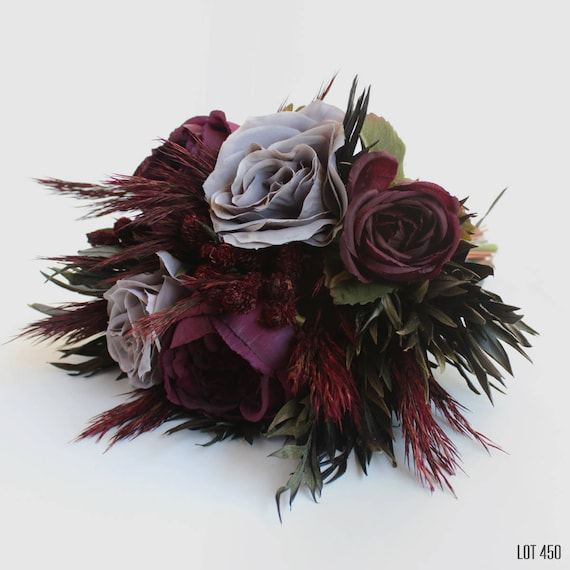 Silk Flower Bouquet with Dry Flowers Fall Autumn Wedding