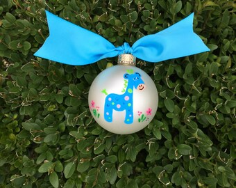 Nursery Giraffe Ornament, Personalized Ornament - Baby's Birth, Birthday or Christmas - Hand Painted Glass Ball, Baby's Birth Announcement
