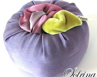 Lavender Flower Pincushion | Round Pin Holder with Hand-sewn, Pink & Green Floral Accents | Made from Upcycled Materials | Eco-Friendly