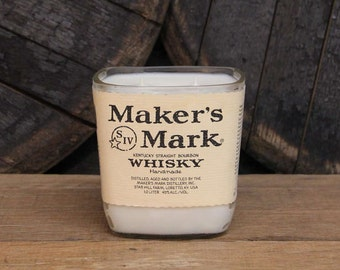Upcycled Maker's Mark Whisky Candle - Recycled Bourbon Bottle Candle Handmade Soy Candle, Bourbon Candle , Whiskey Gifts, Father's Day Gift