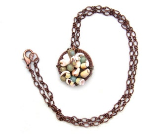 Ocean Treasures Cluster Pendant Necklace Wire Wrapped Shell Gemstone Copper Chain