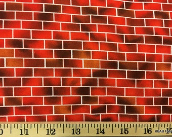 Red Brick Fabric By the Yard / Half Yard Michael Miller Landscape Fireman Red Brick By Brick Cotton Quilting Apparel Fabric w6/14