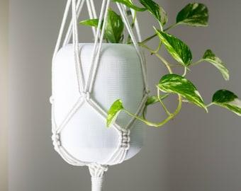 Macrame plant hanger, pot plant holder, boho fibre art, boho decor, natural white cotton, housewarming, urban jungle, fibre art