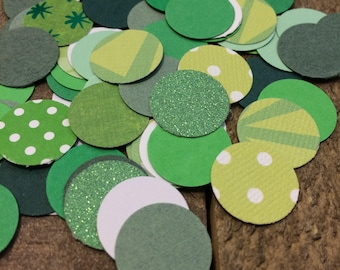 Green Wedding Confetti Mix / Table Decor / Green Circle Theme Table Scatter / Hand Punched / 200 Pieces