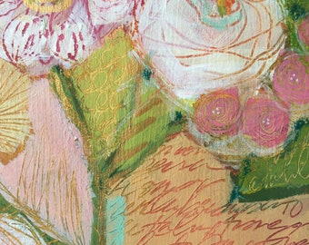 Abstract Florals Mixed Media Painting