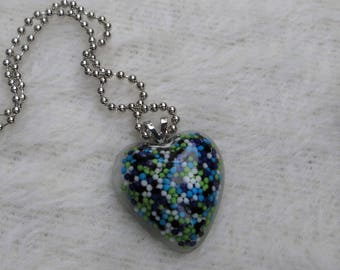 Heart Necklace Seahawk Colors Resin Heart Necklace Pendant Candy Sprinkles in Resin Seattle Football Team Colors Blue and Green Unique