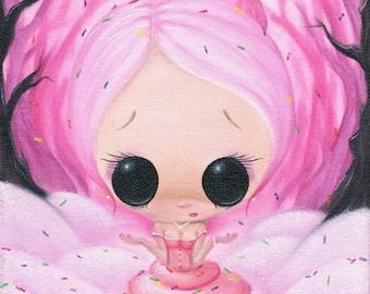 Sugar Fueled Sweet Cupcake Girl Sprinkles Pop Surrealism Lowbrow creepy cute big eyes eye art print