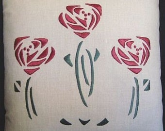 Embroidery Kit for the Mackintosh Glasglow Silk Rose Pillow