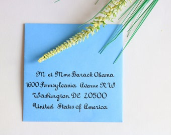 Envelope calligraphed by hand. Wedding, birthday, bar mitzvah event. French writing style