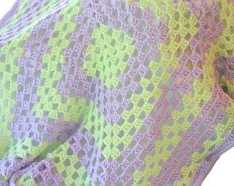Crochet Baby Afghan, Purple Blanket, Crib Afghan, Green Afghan, Granny Square Afghan, Afghan Blanket, Baby Blanket Afghan, Crochet Bla