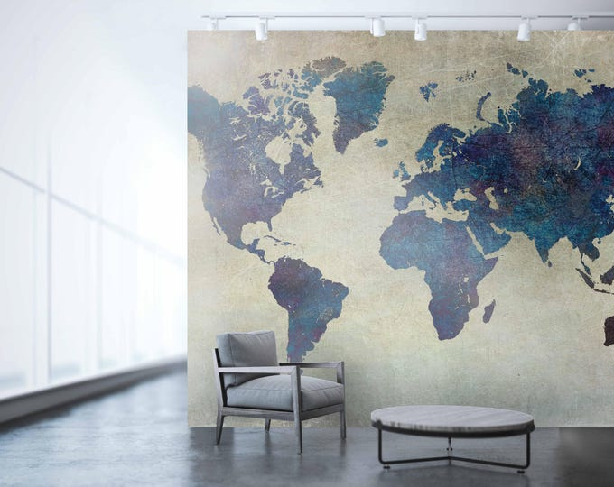 World map wall art, map of the world, vintage map, wallpaper, large world map, world map, map, world travel map, world map art, wall art