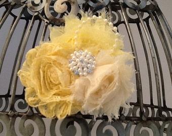 Yellow hair clip, cream and lace hair clip, yellow hair accessory, girls hair clip, yellow lace flower hair clip, pearl hair accessory