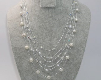 White Pearl Necklace, Pearl Multi Strand Necklace, Pearl and Crystal by Silk Thread